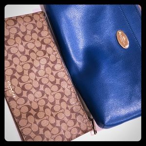 Coach wristlet with zippered pouch insert